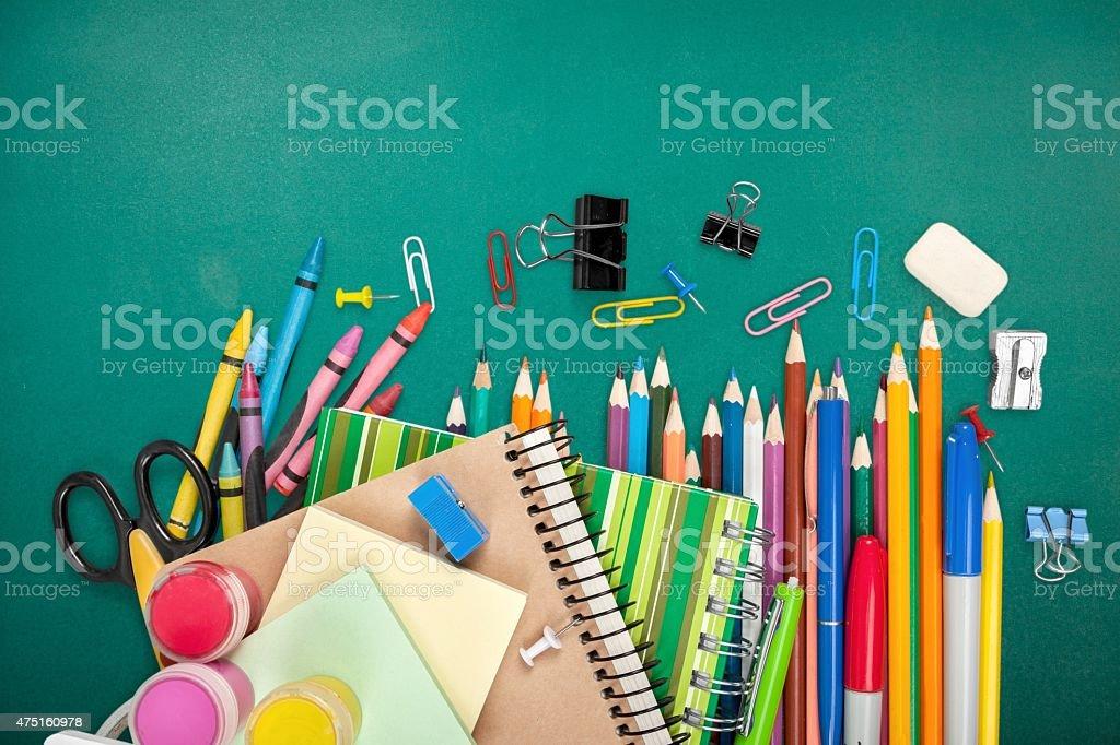 School, isolated, crayons stock photo