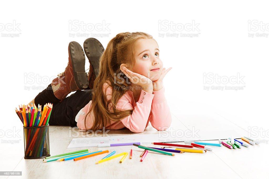 School Kid Thinking, Education Concept, Dreaming Inspiring Child, Student Girl stock photo