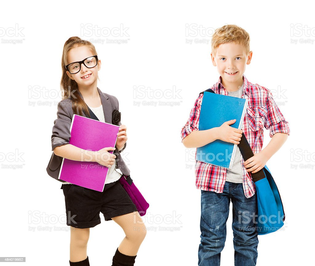 School Kids Group, Children Uniform, Little Girl Boy, Folder White stock photo