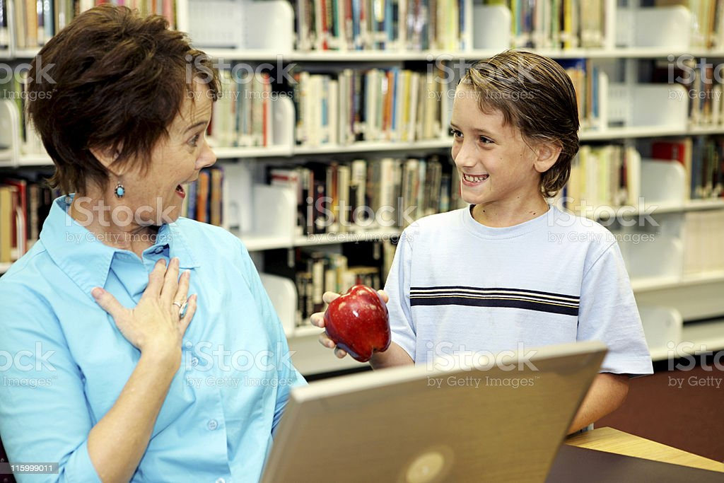 School Library - Teacher Surprise royalty-free stock photo