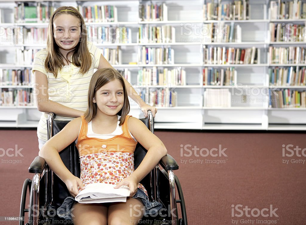 School Library - Two Girls stock photo