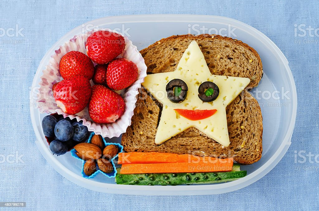 school lunch box for kids stock photo