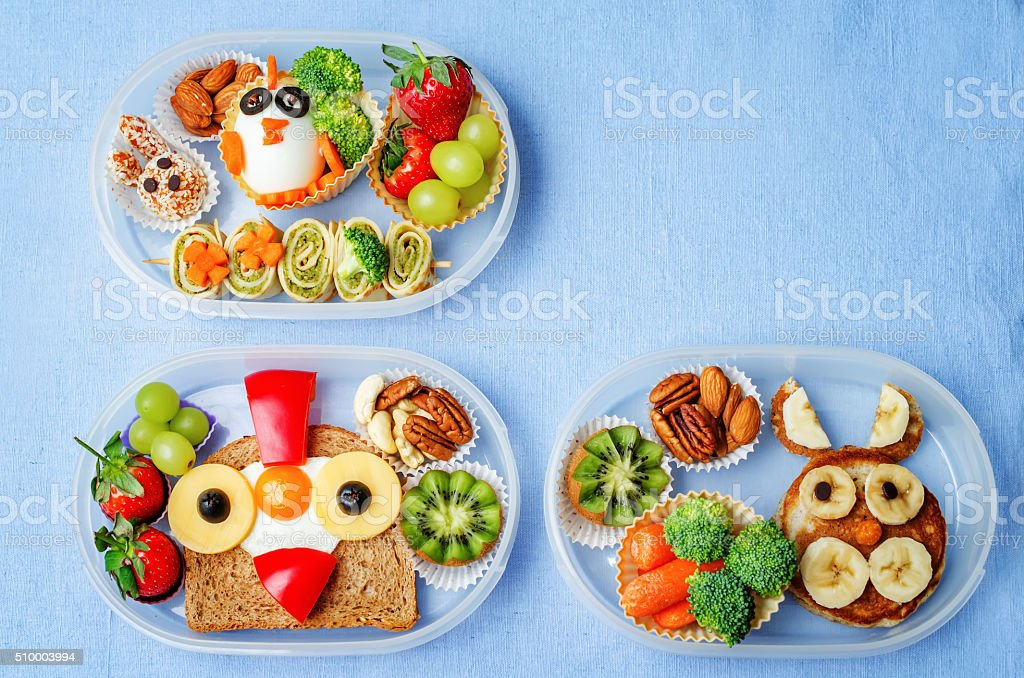 school lunch box for kids with food stock photo