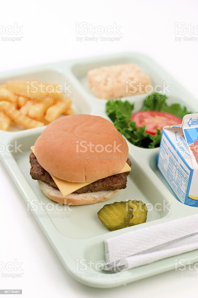School Lunch - Cheeseburger stock photo