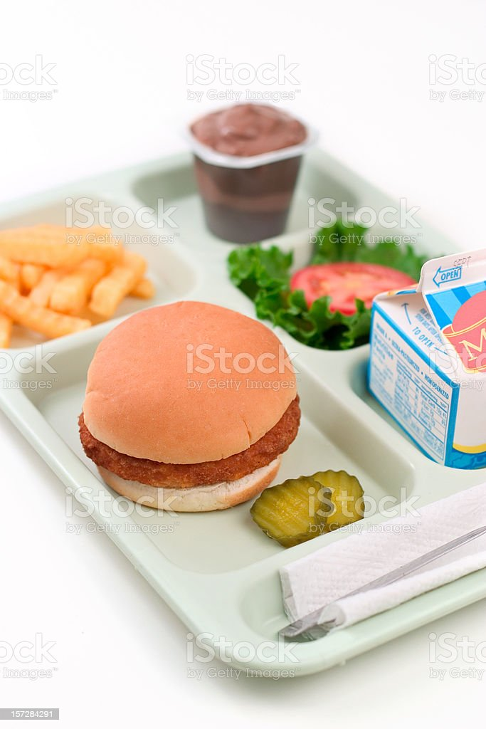 School Lunch - Chicken Burger royalty-free stock photo