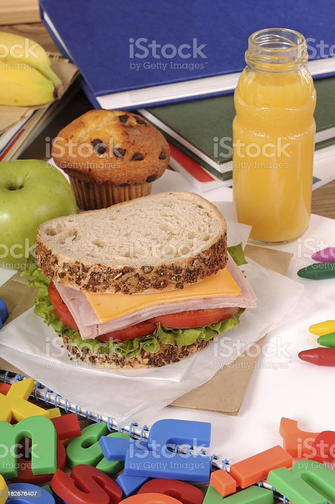 School lunch on a classroom table royalty-free stock photo