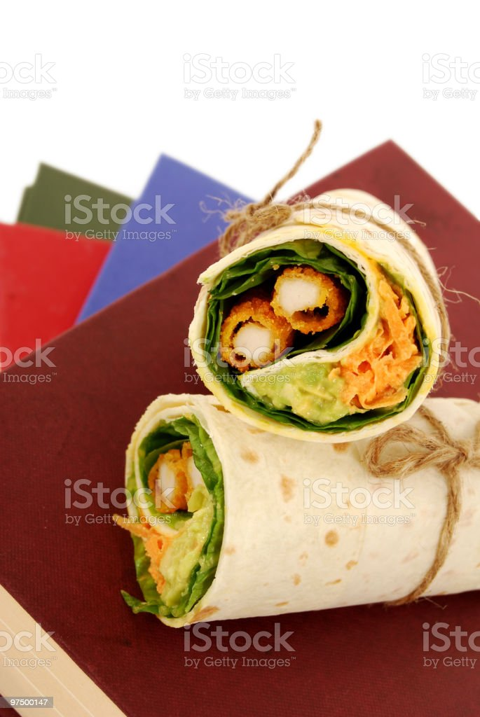School lunch series: chicken wrap sandwich stock photo