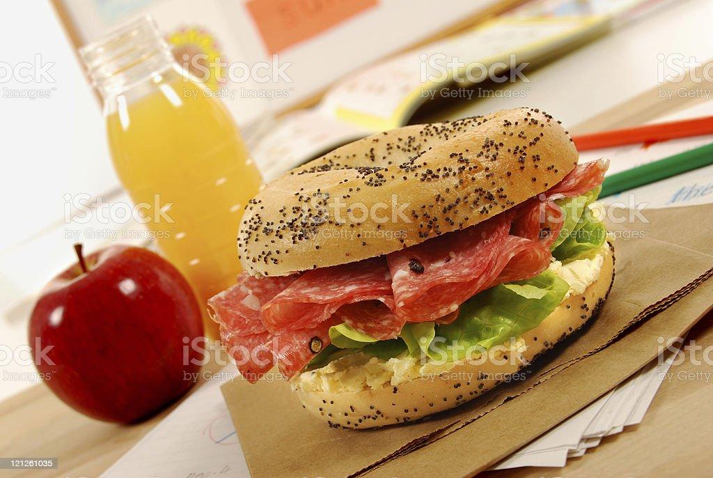 School lunch series: salami bagel sandwich royalty-free stock photo