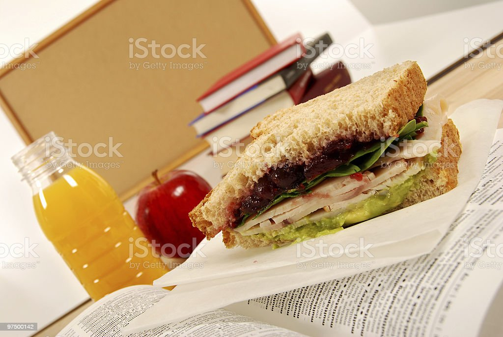 School lunch series: turkey sandwich royalty-free stock photo