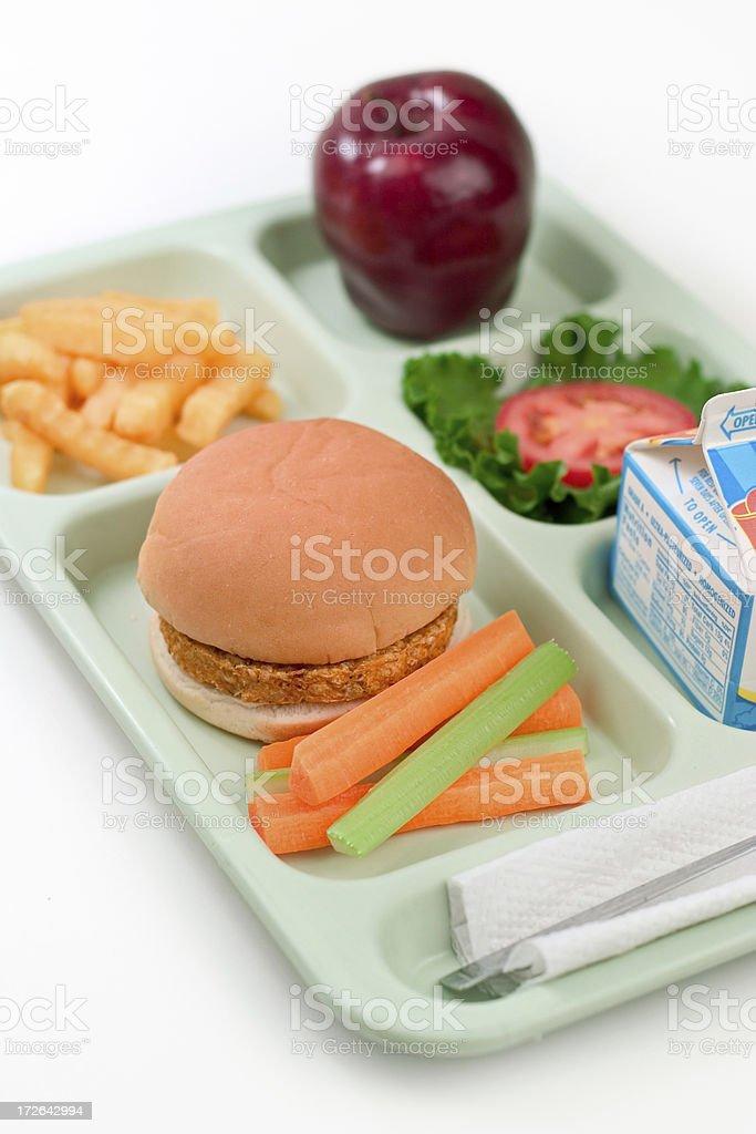 School Lunch - Veggie Burger stock photo