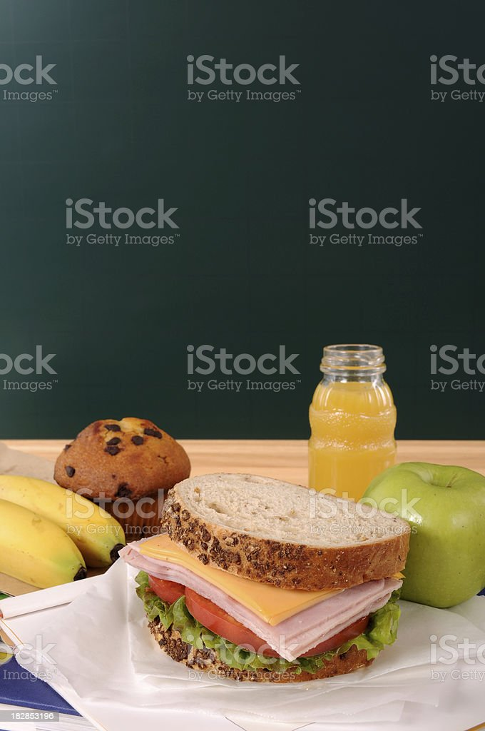School lunch with blackboard royalty-free stock photo