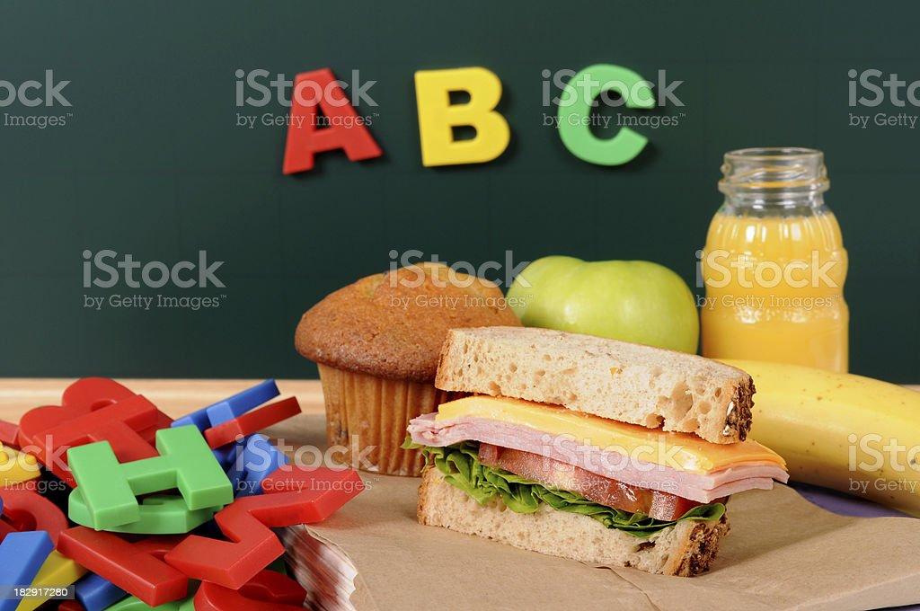 School lunch with blackboard royalty-free stock photo