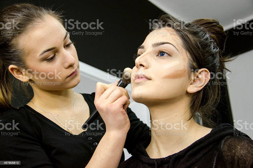 school makeup and students stock photo