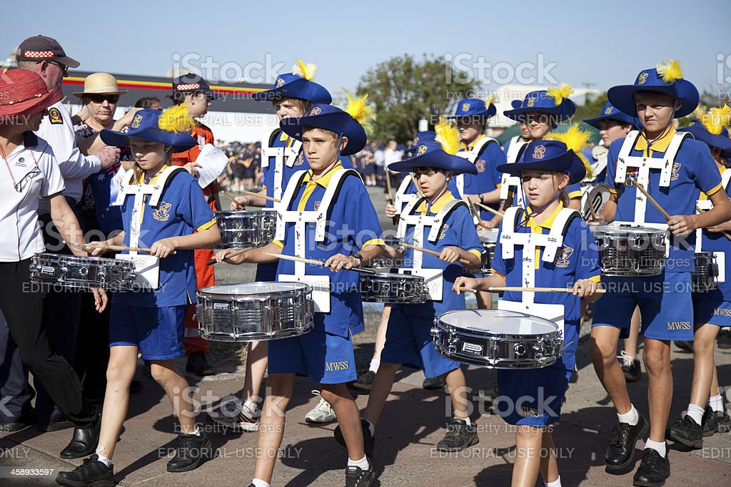 School Marching Band with drums stock photo