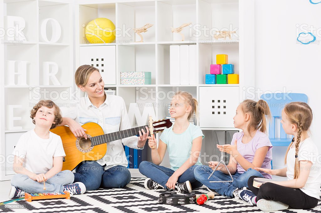 School music group at their weekly rehearsal stock photo