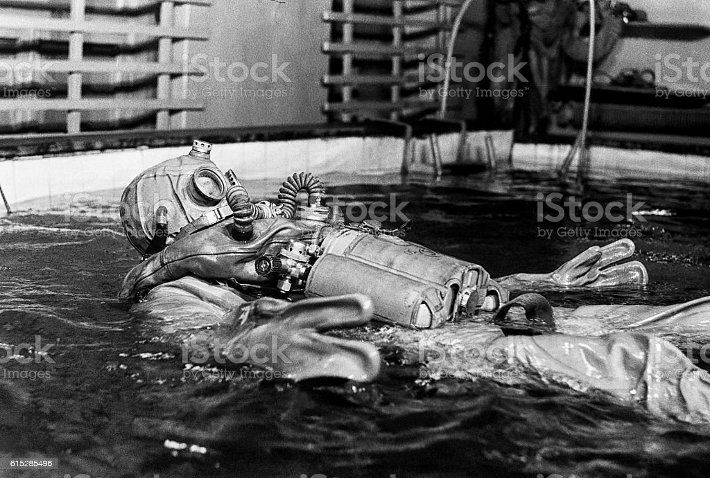 School of military divers. stock photo