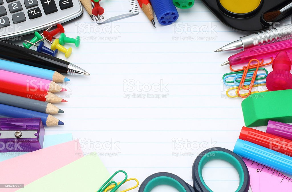 School office supplies royalty-free stock photo