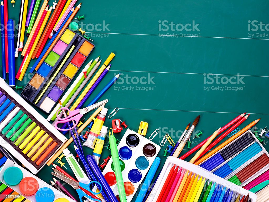 School office supplies. stock photo