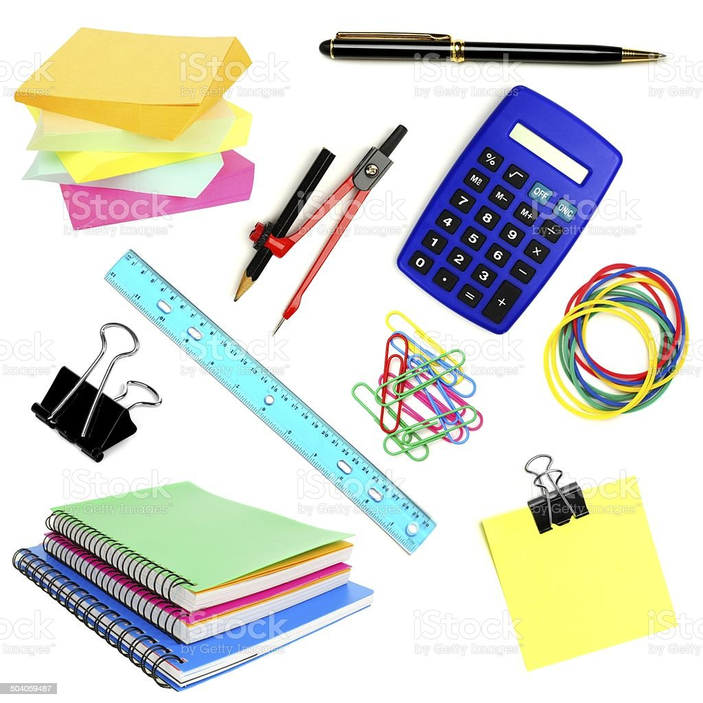 School or office supplies individually isolated on white stock photo