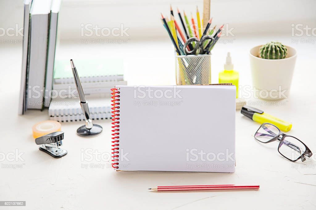 School or office supplies on the table. Study or business concept. stock photo