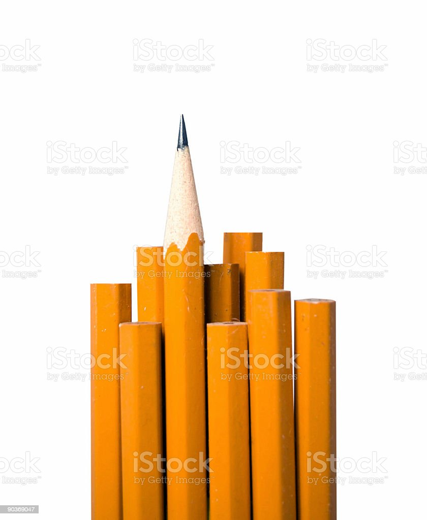 School pencils on white- one sharpened stock photo