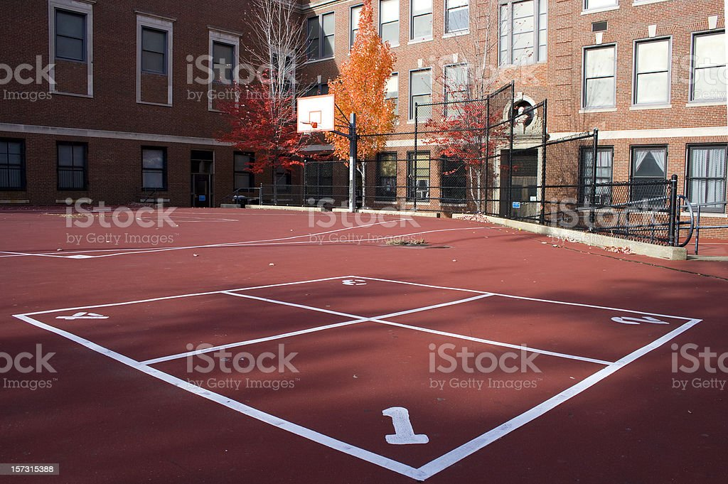 School playground with four square court stock photo