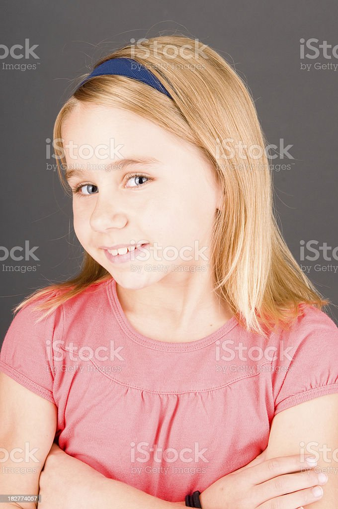 School Portrait of a young blonde child stock photo