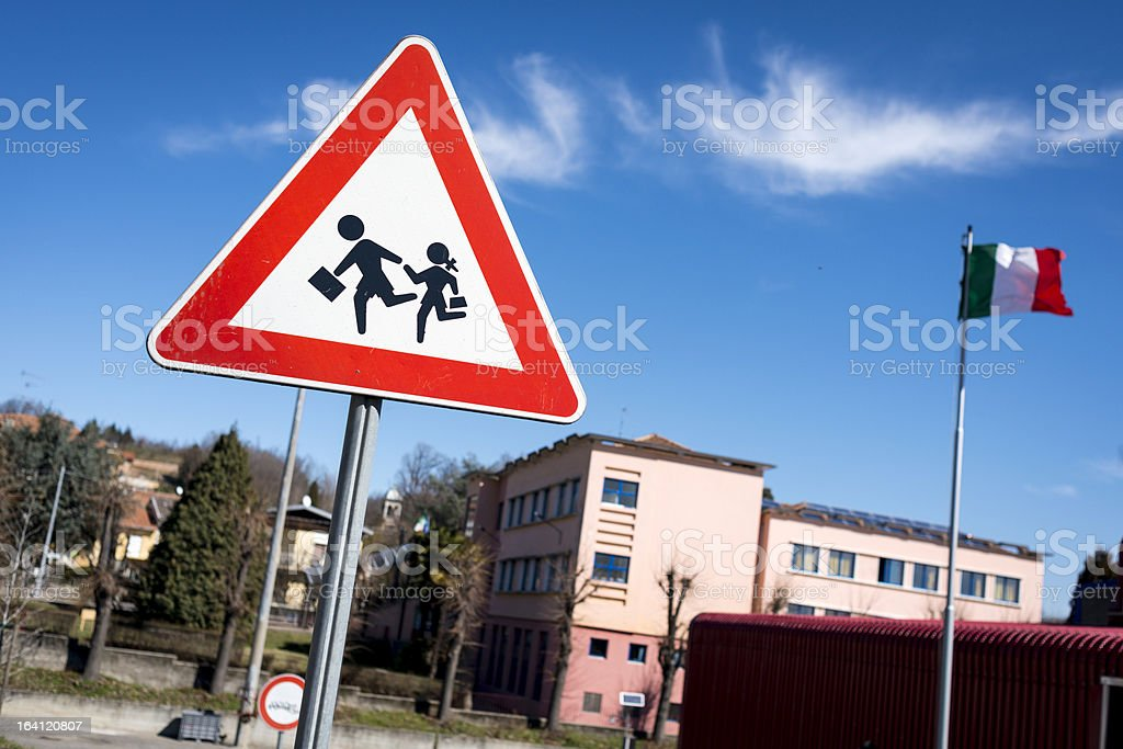 School sign in Italy royalty-free stock photo