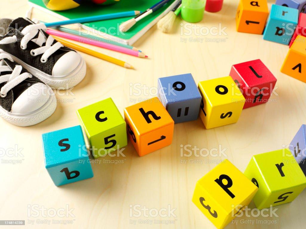 School Spelling in Building Blocks royalty-free stock photo