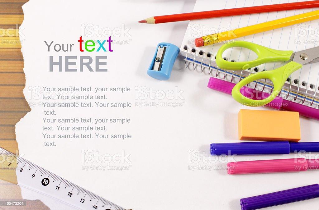 School stationery framework stock photo