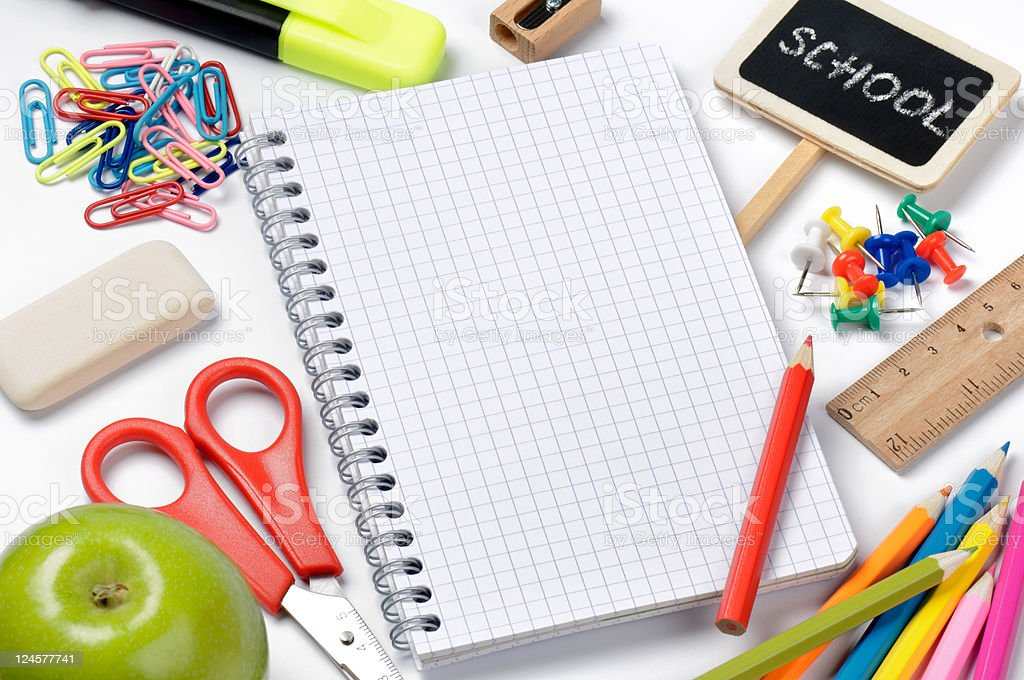 School stationery with notebook royalty-free stock photo