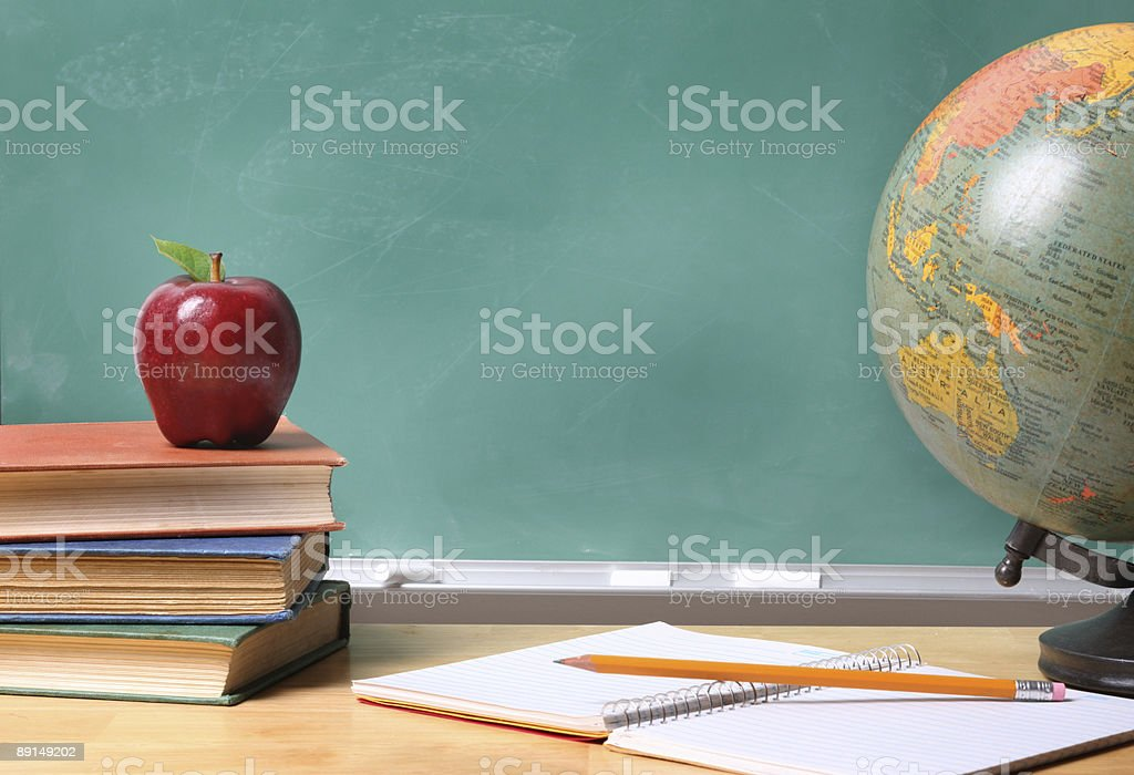 School still life with copyspace on chalkboard royalty-free stock photo