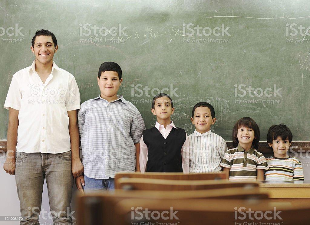 School student generations steps, from preschooler to university royalty-free stock photo
