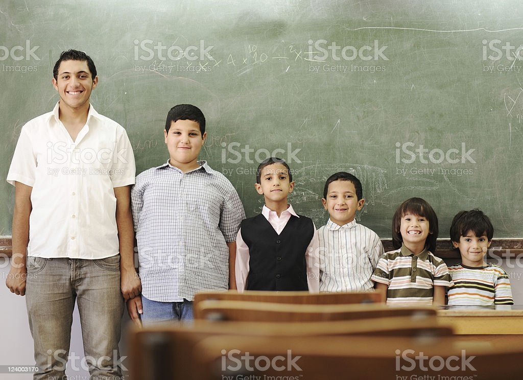 School student generations steps, from preschooler to university stock photo