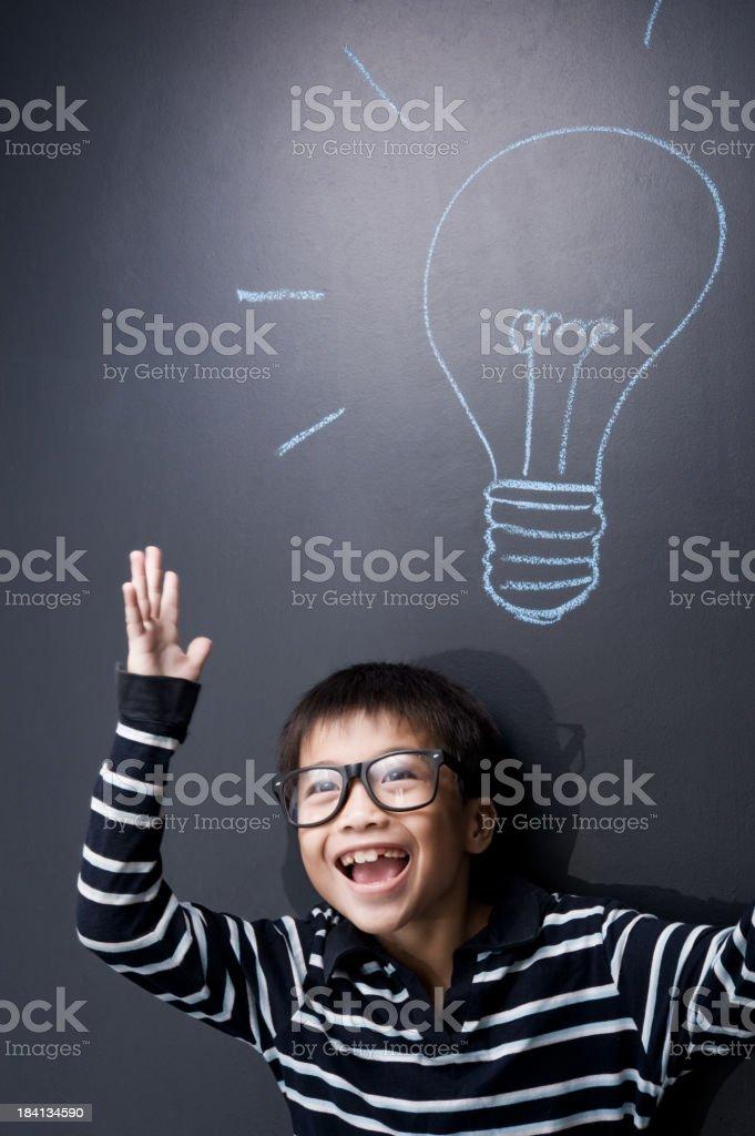 School student portrait with blackboard royalty-free stock photo