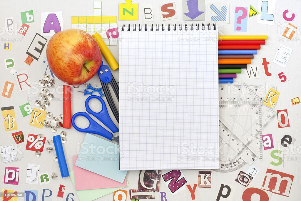 School supplies and blank notebook royalty-free stock photo