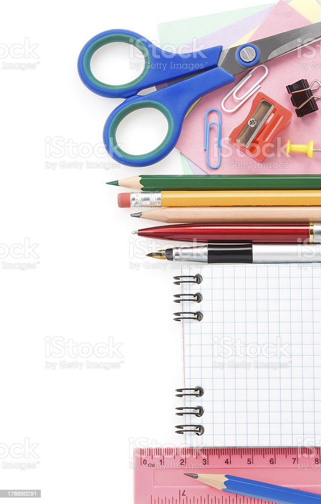 school supplies and checked notebook royalty-free stock photo
