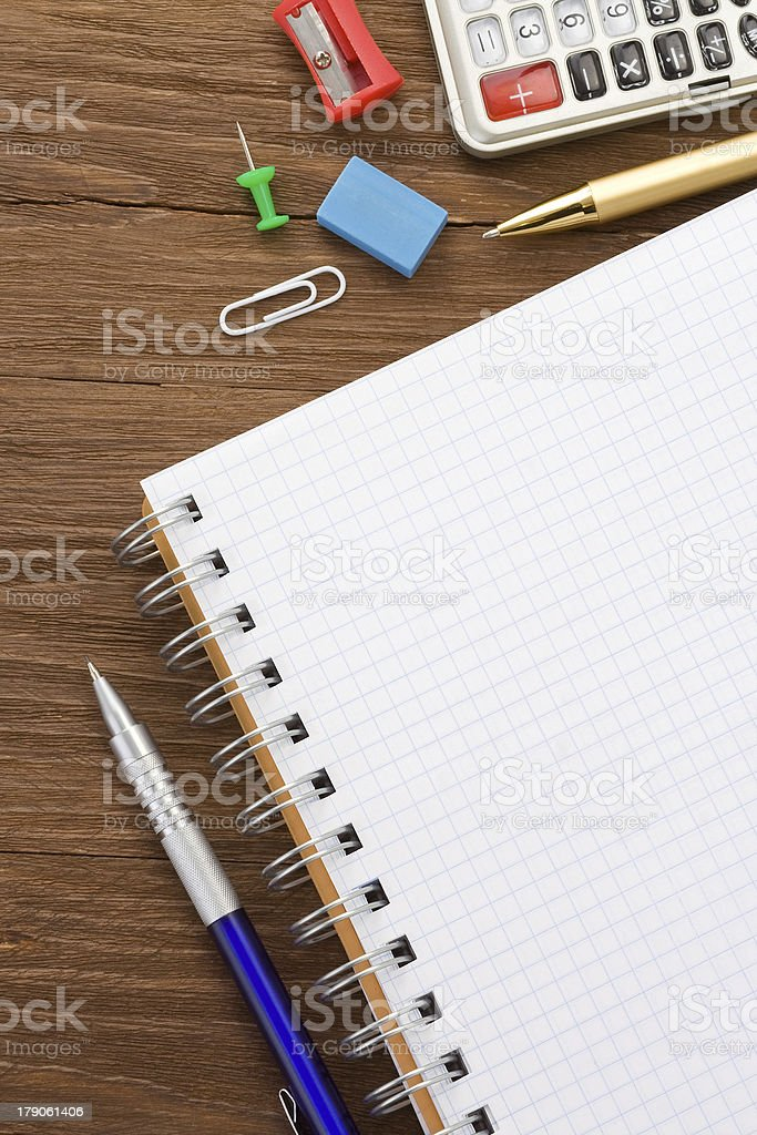 school supplies and  paper notepad royalty-free stock photo