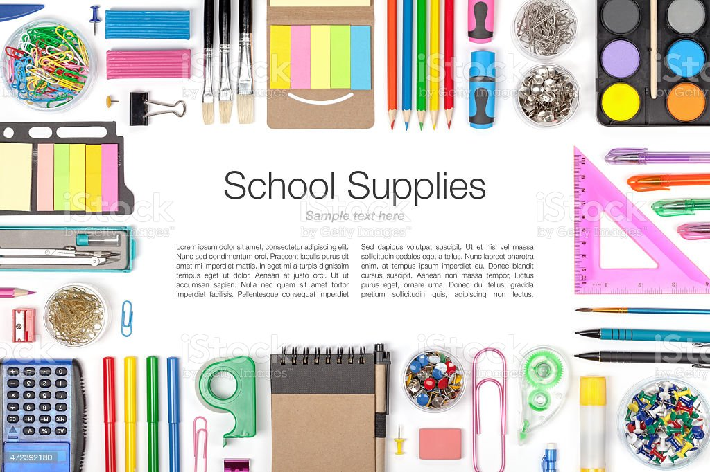 School supplies around sample text on white background stock photo