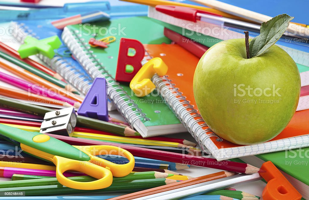 School supplies background. stock photo