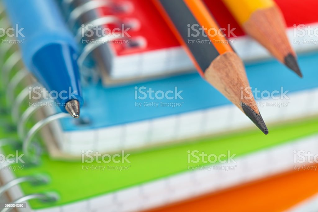 School supplies background. stock photo