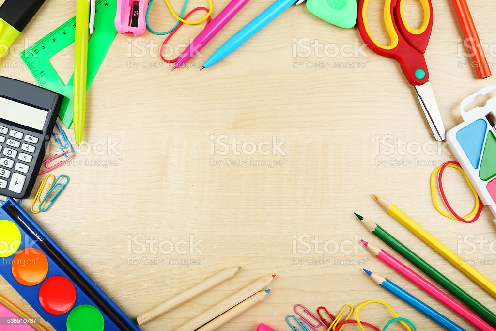 School supplies, background with copy space stock photo