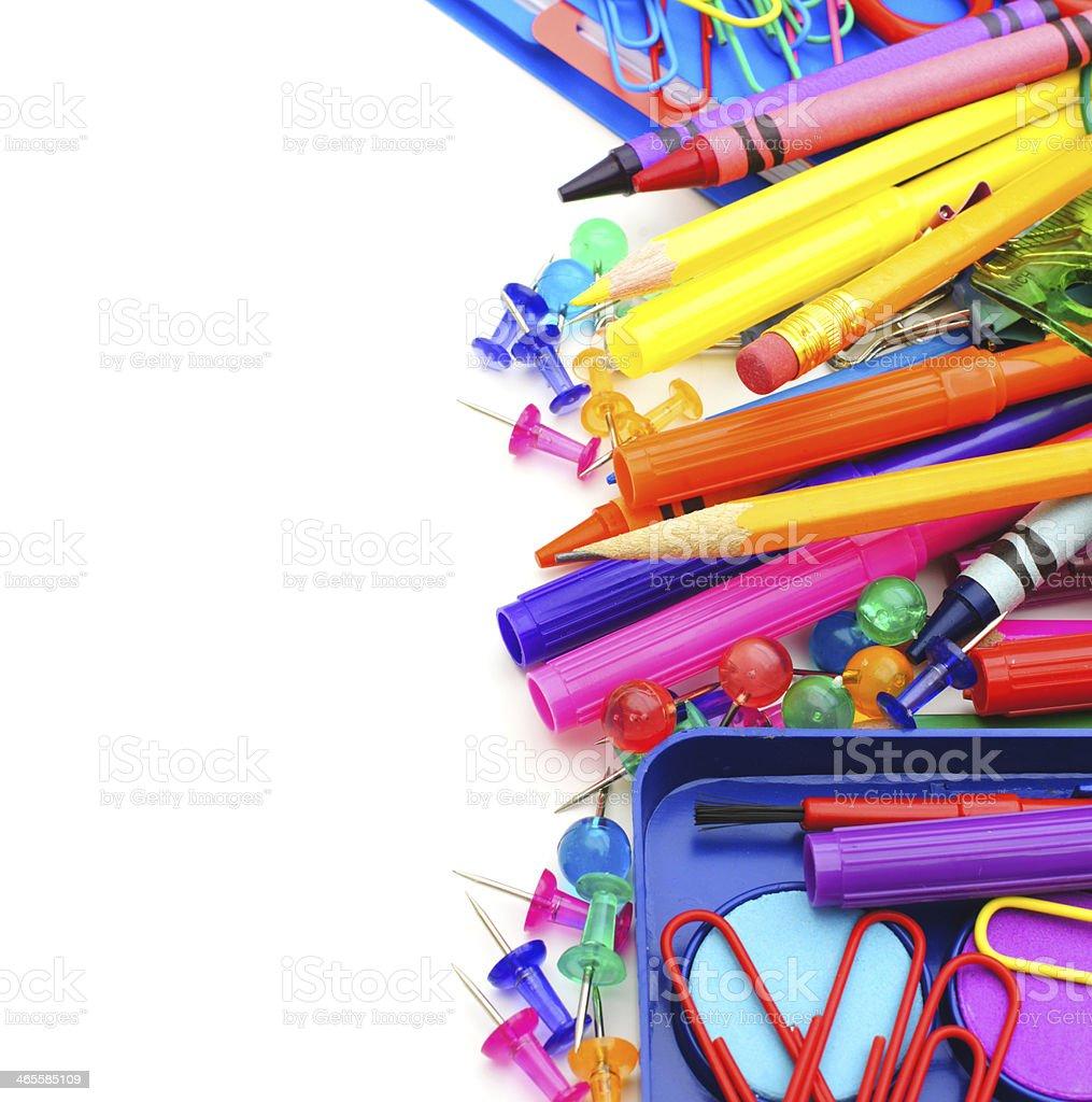 School supplies border royalty-free stock photo
