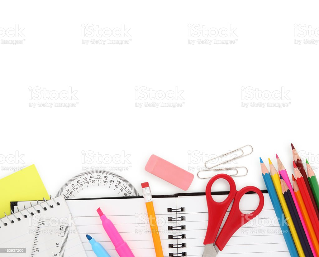 School Supplies Border (with path) stock photo