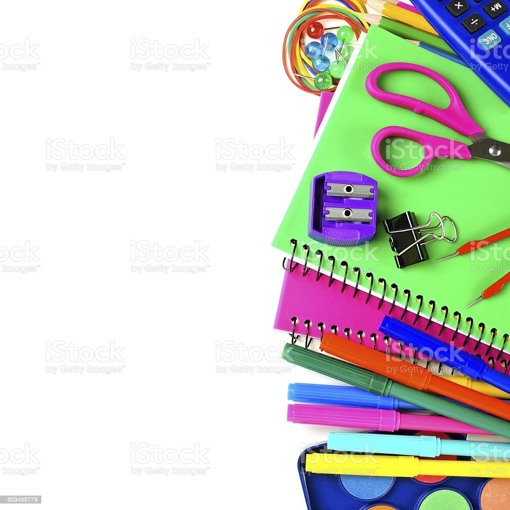 School supplies border royalty-free stock photo