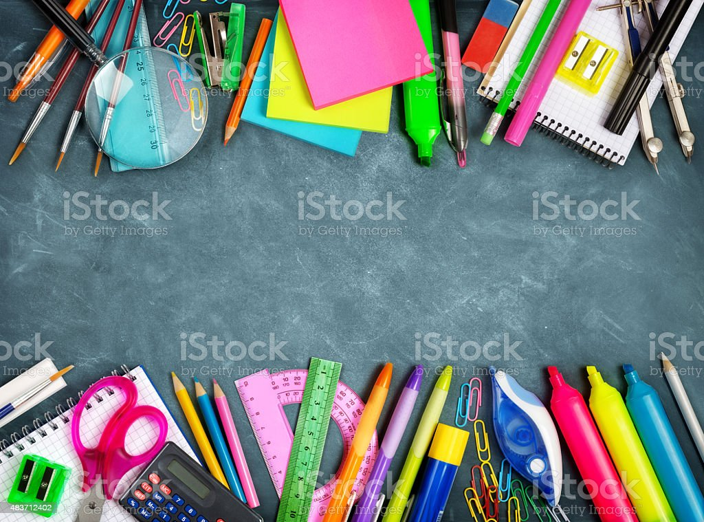 School supplies double border on blackboard stock photo