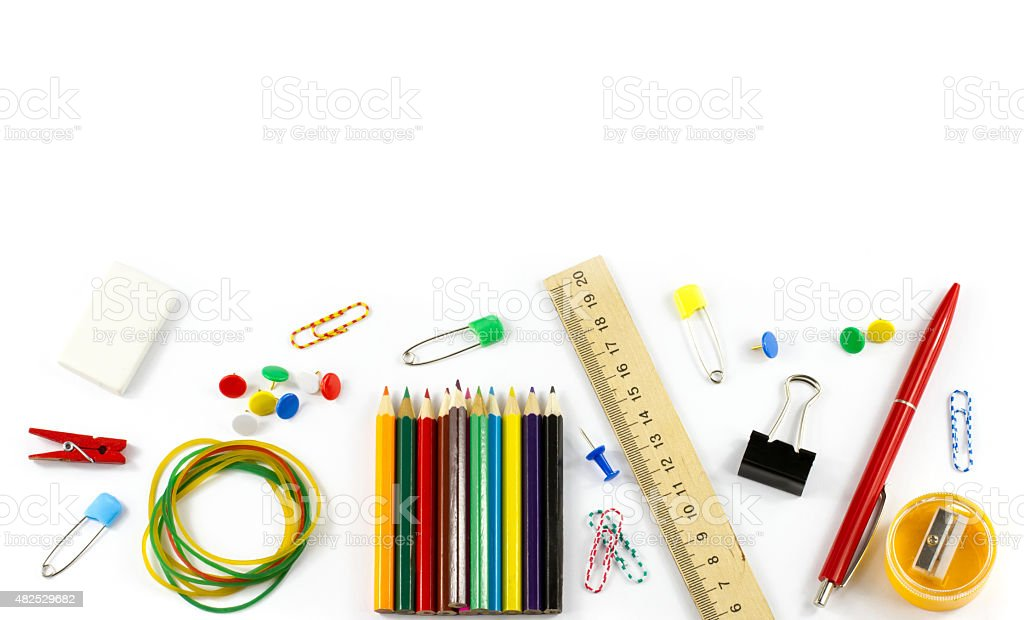 School supplies isolated on white background stock photo