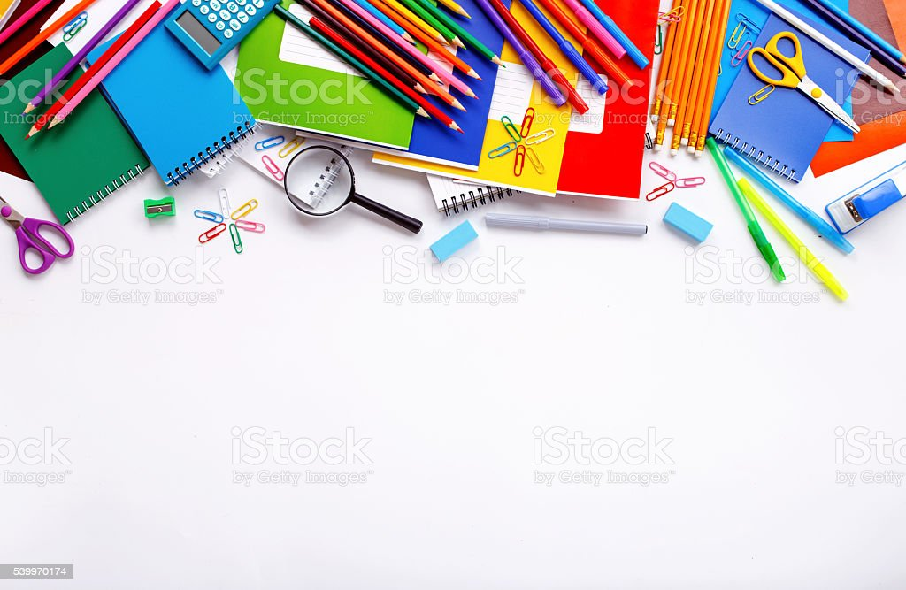 School supplies on a white background stock photo