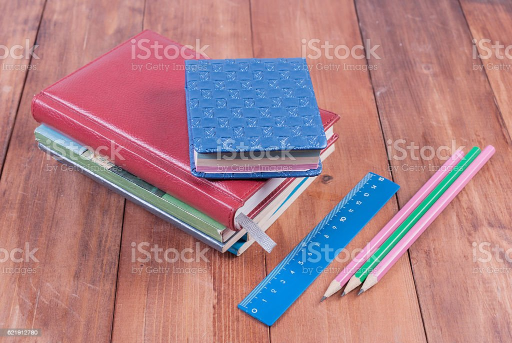 School supplies on a wooden background. Back to school. stock photo