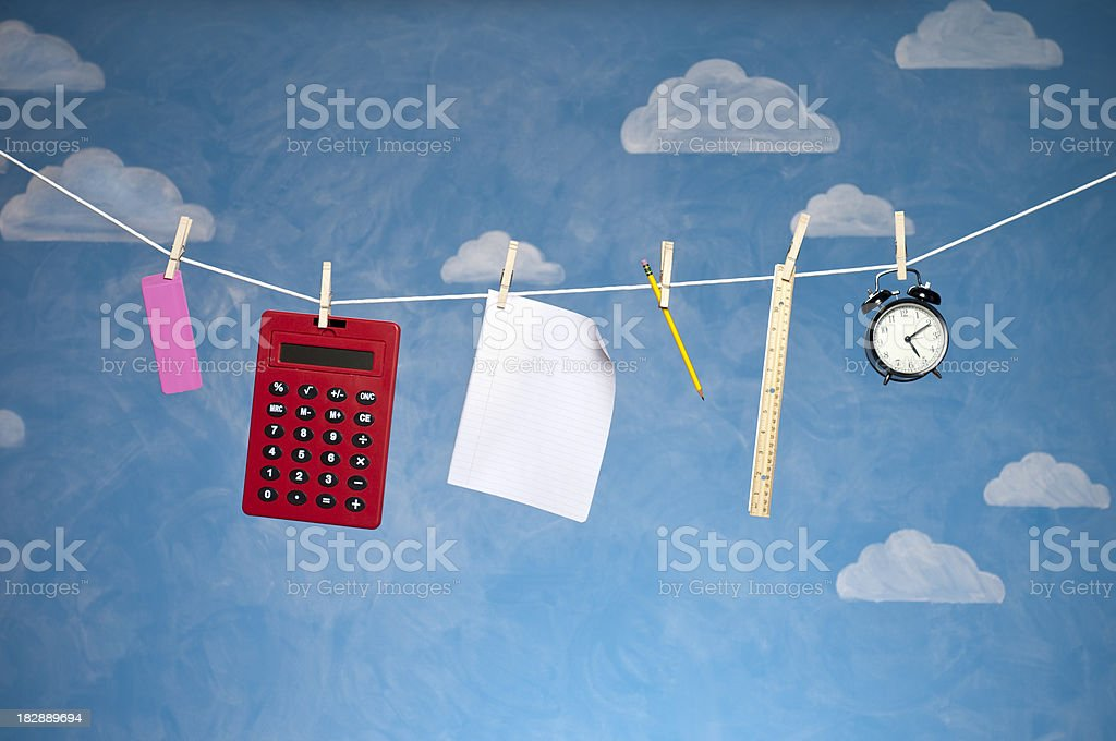 School Supplies On Clothesline royalty-free stock photo